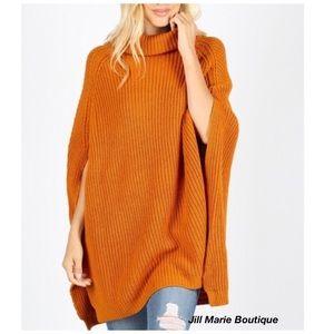 Turtleneck sweater poncho tunic spice orange NWT
